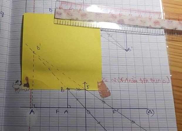 Bức ảnh khiến học sinh khóc thét giờ Vật lý: Vẽ thấu kính - Ảnh 4.