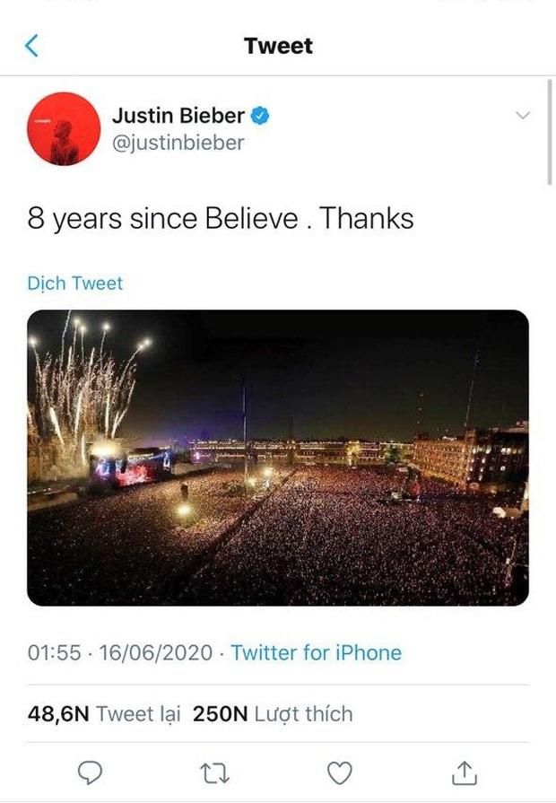 Justin Bieber nhận vơ ảnh đám đông khổng lồ trong concert huyền thoại Paul McCartney là của mình, bị bóc phốt nhưng vẫn không chịu xóa hình? - Ảnh 1.