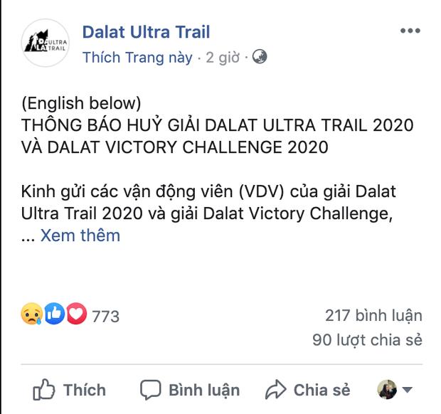 Huỷ giải Dalat Ultra Trail 2020 và Dalat Victory Challenge sau tai nạn của nam vận động viên marathon - Ảnh 1.