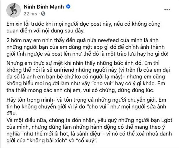 Giữa cơn sốt FaceApp đang khiến giới trẻ điên đảo, Đinh Mạnh Ninh lên tiếng chỉ trích gay gắt - Ảnh 1.
