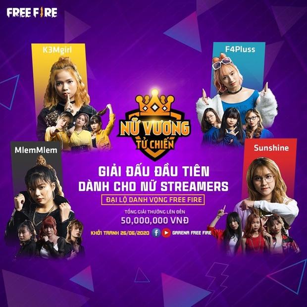 Free Fire tổ chức giải đấu Nữ vương đại chiến, quy tụ 16 bóng hồng streamer xinh đẹp - Ảnh 2.