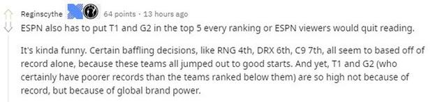 Cộng đồng chỉ trích BXH của ESPN - T1 được đánh giá quá cao, họ không xứng vị trí top 2 thế giới - Ảnh 4.
