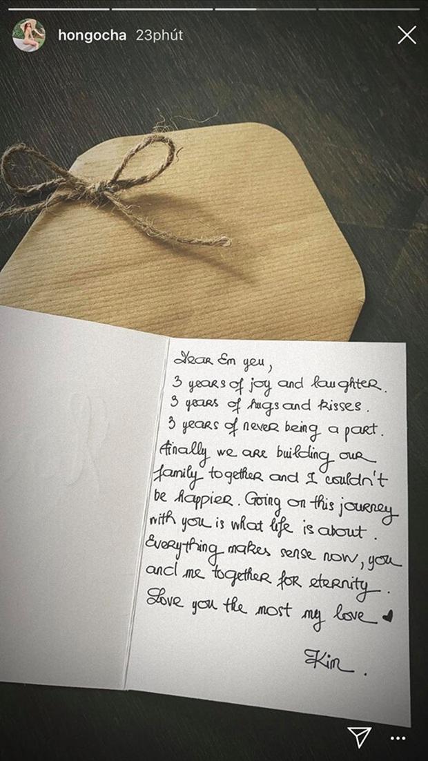"""Kim Lý viết thư tay toàn lời """"mật ngọt"""" kỷ niệm 3 năm yêu Hà Hồ, vô tình xác nhận luôn tin mang bầu? - Ảnh 2."""
