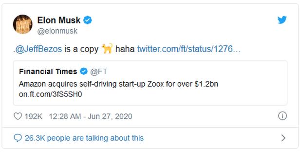 Vừa bỏ tỷ USD ra mua hãng xe tự lái, Jeff Bezos đã bị Elon Musk gọi là đồ bắt chước - Ảnh 1.
