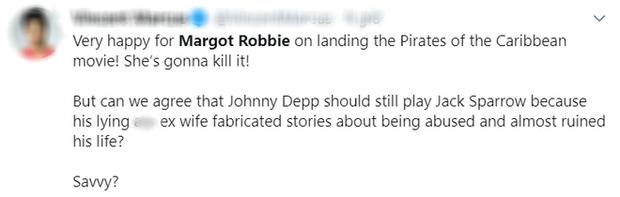 Margot Robbie đóng chính ở Cướp Biển Vùng Caribbean nhưng netizen lại mải khóc thương cho Johnny Depp vì lý do này - Ảnh 3.