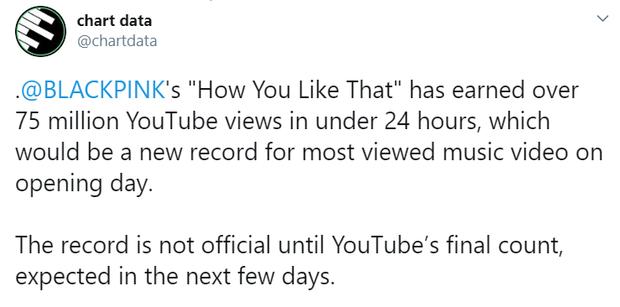 """BLACKPINK xô đổ kỉ lục của BTS, """"How You Like That"""" trở thành MV được xem nhiều nhất 24 giờ đầu trên toàn thế giới! - Ảnh 3."""
