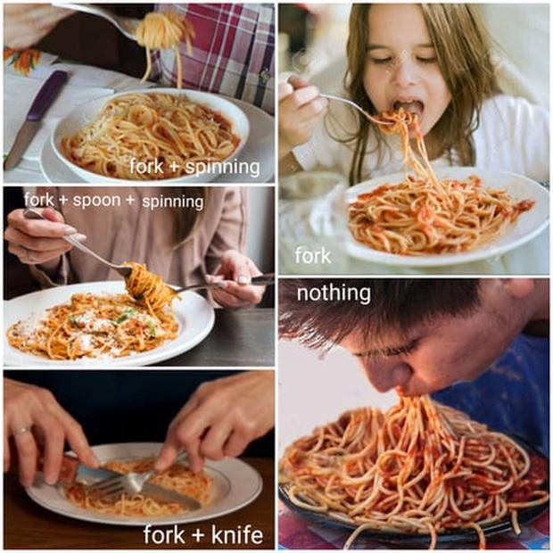 """Trên thế giới luôn có 4 kiểu người khác nhau khi ăn mì Ý, trong đó dân châu Á và Việt Nam vẫn """"trung thành"""" với 1 cách này - Ảnh 2."""
