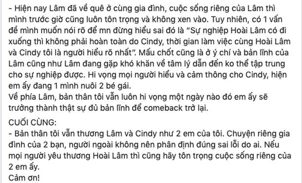 Đại diện Hoài Lâm chính thức lên tiếng về nghi vấn mượn chuyện tan vỡ để PR, tiết lộ tình trạng đáng lo của nam ca sĩ - Ảnh 3.