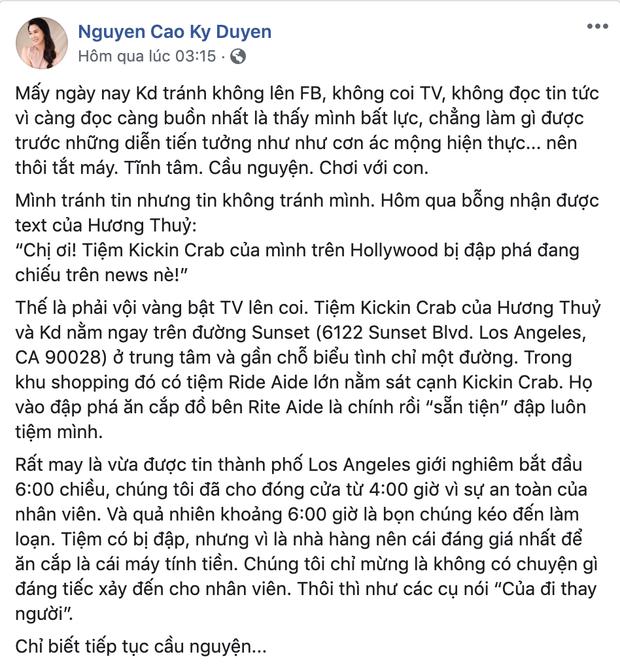 #BlackLivesMatter: Thuý Nga cập nhập tình hình tại Mỹ , MC Nguyễn Cao Kỳ Duyên lên TV vì cửa hàng bị đập phá - Ảnh 2.