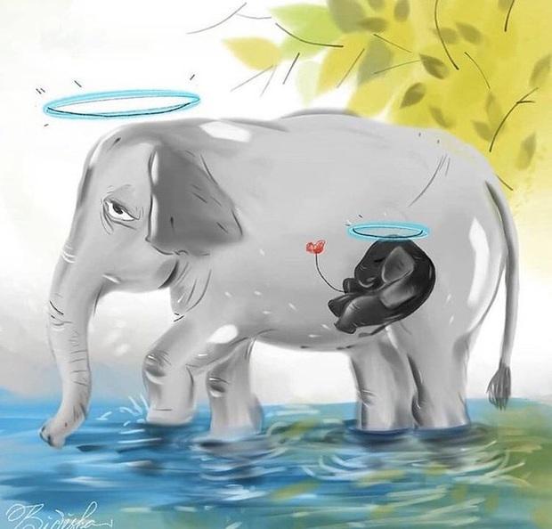 Xót thương voi mẹ mang thai chết vì ăn phải dứa nhét thuốc nổ, cộng đồng mạng chia sẻ những bức vẽ tưởng niệm đầy cảm xúc - Ảnh 4.