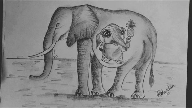 Xót thương voi mẹ mang thai chết vì ăn phải dứa nhét thuốc nổ, cộng đồng mạng chia sẻ những bức vẽ tưởng niệm đầy cảm xúc - Ảnh 5.