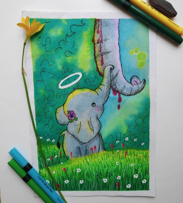 Xót thương voi mẹ mang thai chết vì ăn phải dứa nhét thuốc nổ, cộng đồng mạng chia sẻ những bức vẽ tưởng niệm đầy cảm xúc - Ảnh 13.