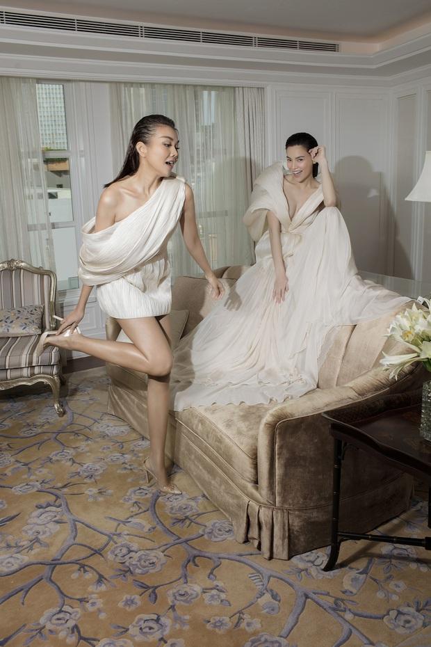 Được thực hiện khi mới có tin vui, bộ ảnh Hà Hồ - Thanh Hằng trong trang phục Công Trí lên hẳn Vogue - Ảnh 4.