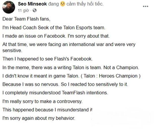 HLV trưởng của Talon Esports lên tiếng xin lỗi Team Flash về hành động lăng mạ đại diện VCS - Ảnh 4.