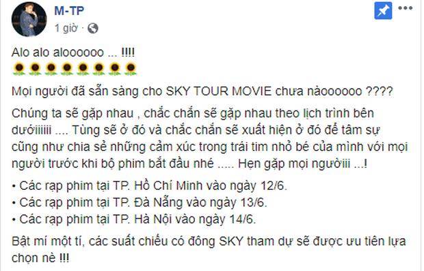 Đặt lịch đi xem phim với Sơn Tùng M-TP ngay: Nam ca sĩ sẽ có mặt tại các rạp chiếu SKY TOUR Movie và hẹn hò cùng fan này! - Ảnh 1.
