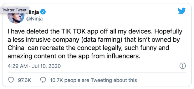 Streamer nổi tiếng nhất thế giới Ninja tuyên bố bỏ TikTok vì lo ngại vấn đề bảo mật - Ảnh 1.