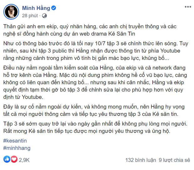 Tập 3 web drama của Minh Hằng vừa lên sóng đã bị gỡ vì cảnh phim gắn mác khủng bố - Ảnh 1.