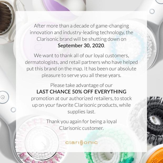 Thương hiệu máy rửa mặt Clarisonic tuyên bố đóng cửa, giảm giá 50% toàn bộ sản phẩm để xả hàng - Ảnh 1.