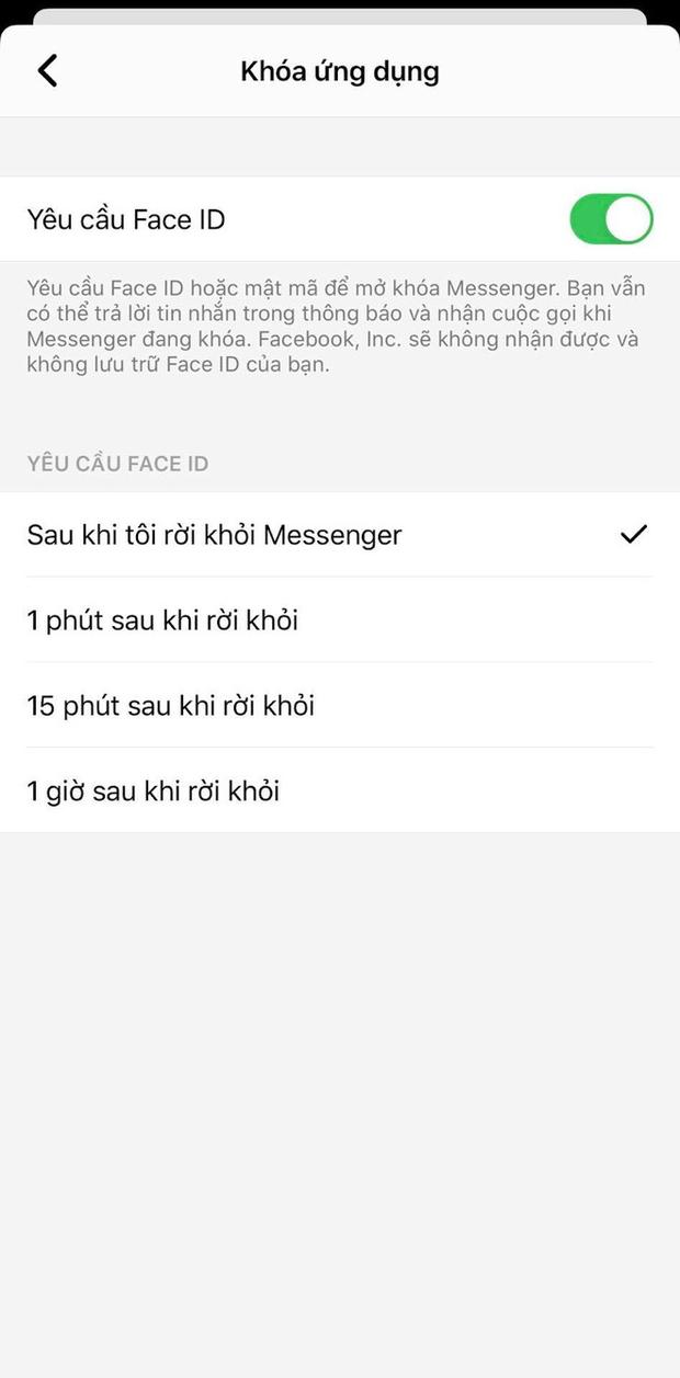 Messenger cập nhật tính năng bảo mật bằng Touch ID và Face ID trong bản cập nhật mới trên iOS - Ảnh 3.