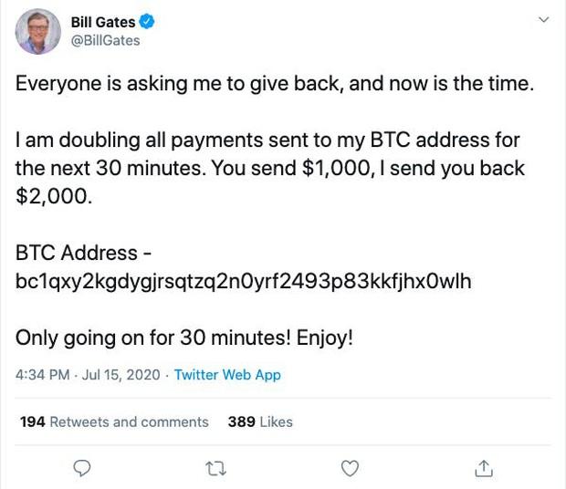 Vụ hack lớn nhất lịch sử, Elon Musk, Bill Gates cùng hàng loạt acc khủng, tích xanh bị hack để lừa đảo bitcoin - Ảnh 1.