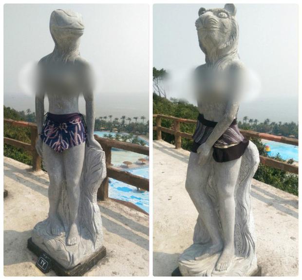 3 lần mặc đồ cho tượng khiến người xem ngã ngửa: Từ 12 con giáp mặc bikini đến quỷ núi đóng khố, khó cỡ nào cũng xoay được thôi - Ảnh 3.