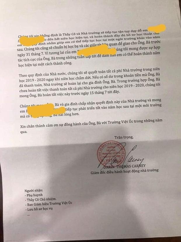 Nhiều phụ huynh trường Quốc tế Việt Úc sốc nặng khi nhận thư không thể tiếp tục tiếp nhận, dù học phí đã đóng đầy đủ và con đang học cuối cấp - Ảnh 2.