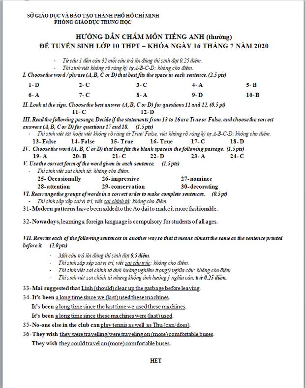 Đáp án chính thức 3 môn thi vào lớp 10 do sở GD&ĐT TP.HCM công bố - Ảnh 7.
