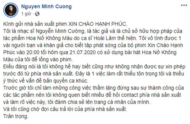 NSX Xin Chào Hạnh Phúc thừa nhận đã không kiểm tra kĩ và gửi lời xin lỗi đến nhạc sĩ Hoa Nở Không Màu vì sử dụng ca khúc trái phép - Ảnh 1.
