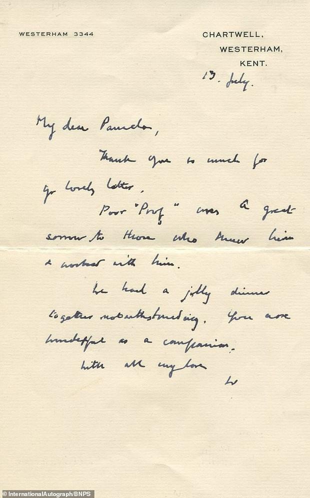 Bức thư trìu mến cựu Thủ tướng Anh Churchill gửi mối tình đầu ở tuổi 83 - Ảnh 2.