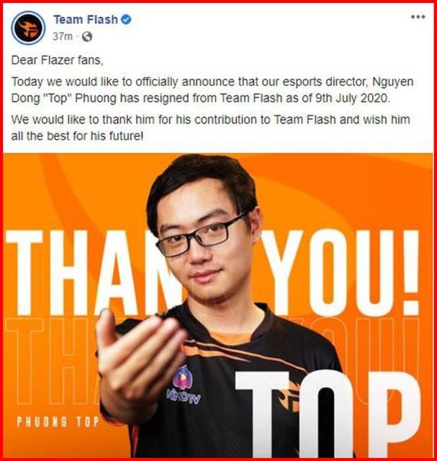 Nóng: Cựu giám đốc Team Flash Phương Top dính tới cá độ, Garena ban hành lệnh cấm - Ảnh 1.