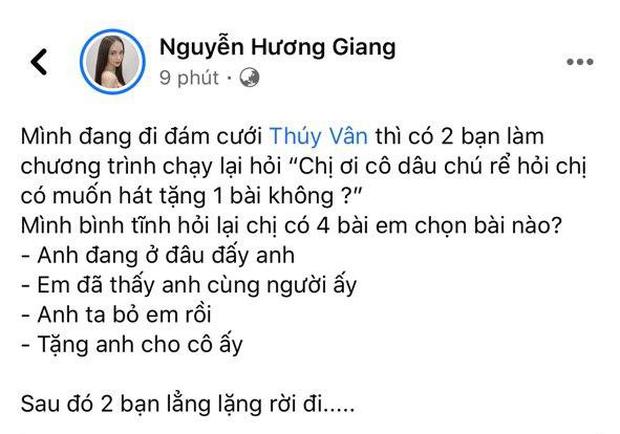 Được mời lên hát góp vui tại đám cưới Á hậu Thuý Vân, Hương Giang gạch 4 đầu dòng tên bài hát khiến BTC toát mồ hôi hột, lẳng lặng rời đi - Ảnh 2.