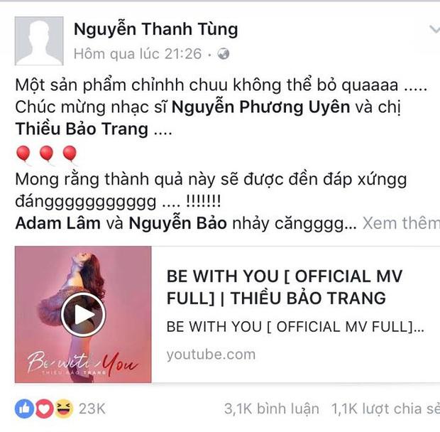 Giữa lúc M-TP Talent liên tục tung gà cưng, dân mạng lại đào chứng cứ Sơn Tùng từng công khai ủng hộ sản phẩm debut của Thiều Bảo Trâm - Ảnh 5.