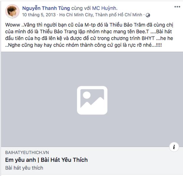 Giữa lúc M-TP Talent liên tục tung gà cưng, dân mạng lại đào chứng cứ Sơn Tùng từng công khai ủng hộ sản phẩm debut của Thiều Bảo Trâm - Ảnh 1.