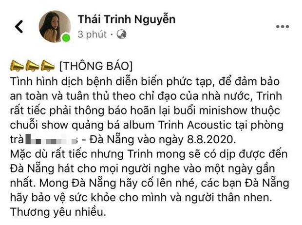 Không chỉ Thái Trinh mà Erik, Lou Hoàng, Suni Hạ Linh đều hoãn show trước diễn biến phức tạp của dịch Covid-19 tại Đà Nẵng? - Ảnh 1.
