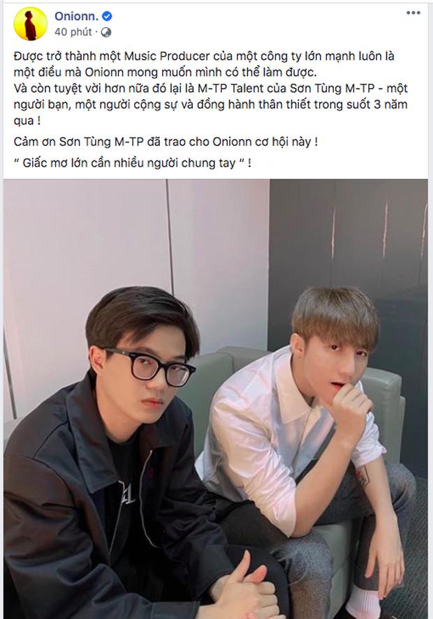 Onionn ngồi cạnh Sơn Tùng M-TP làm fan mất liêm sỉ vì gấp đôi sự đẹp trai, còn nhắn nhủ đầy cảm xúc khiến chủ tịch cũng phải thả tim - Ảnh 1.
