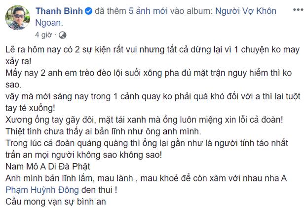 Diễn viên Huỳnh Đông gặp tai nạn, xương ống tay gãy đôi vì ghi hình phim mới - Ảnh 1.