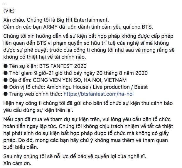 Big Hit đưa ra cảnh báo vi phạm bản quyền, yêu cầu ngừng tổ chức sự kiện Fanfest tại Việt Nam bằng cả 3 thứ tiếng Hàn - Anh - Việt - Ảnh 4.