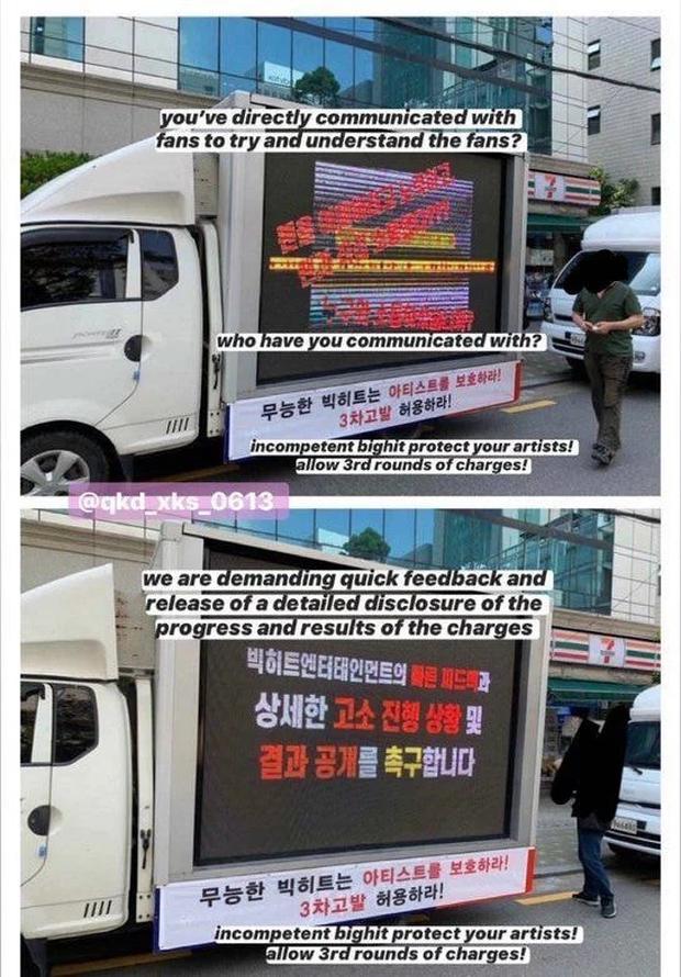 Nối gót fan BLACKPINK, fan BTS thuê xe tải biểu tình trước Big Hit để tỏ thái độ bất mãn, chuyện gì đang xảy ra? - Ảnh 2.