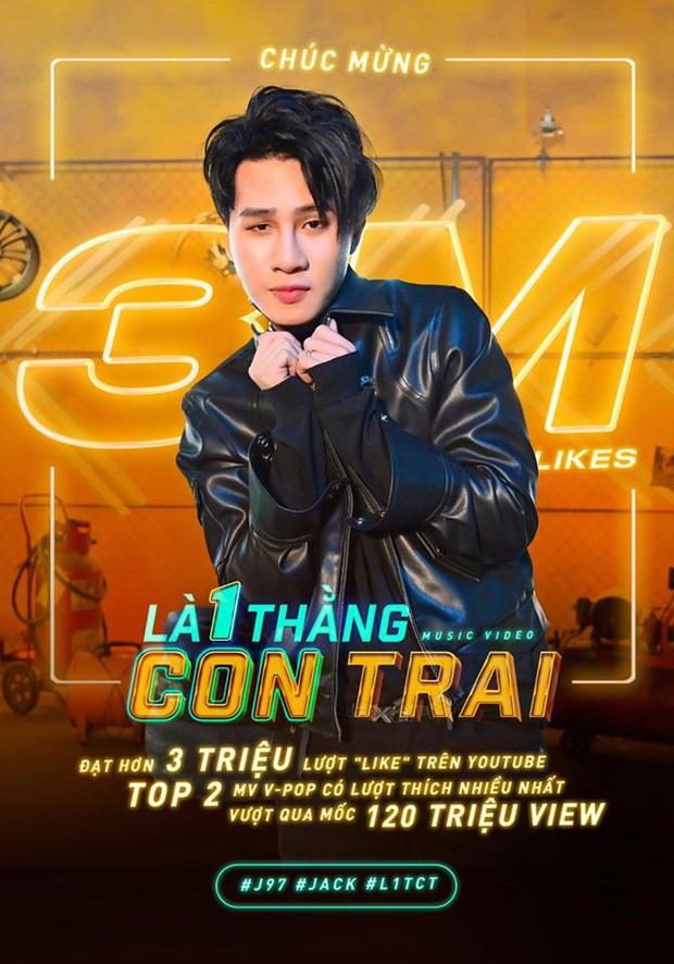 Là 1 Thằng Con Trai cán mốc 3 triệu like, Jack soán ngôi chính mình ở Top MV nhiều like nhất lịch sử Vpop nhưng vẫn thua Sơn Tùng M-TP - Ảnh 3.