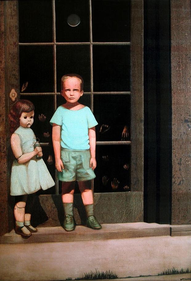Bức tranh vẽ 2 em bé dựa trên ảnh thật gây rùng mình hàng chục năm qua bởi những bàn tay kỳ quái và liên quan đến 3 cái chết - Ảnh 1.