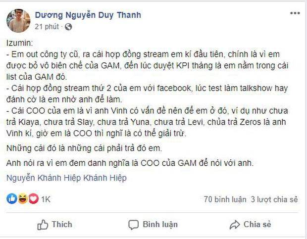 Quyết chiến trên Facebook, Tinikun tung đòn liên hoàn phốt dằn mặt  giám đốc Khánh Hiệp Izumin - Ảnh 4.