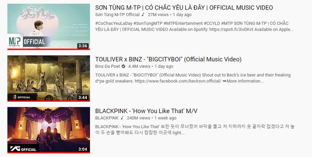 Bigcityboy của Binz vươn lên và hạ BLACKPINK xuống #3, Sơn Tùng M-TP dù gây tranh cãi vẫn tạo nên kỉ lục mới cho Vpop! - Ảnh 1.