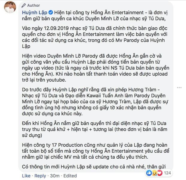 MV parody Duyên Mình Lỡ bị gỡ khỏi Youtube, Huỳnh Lập bóng gió: Để người thứ 3 chen vào thì 1 đồng cũng không được thiếu - Ảnh 2.