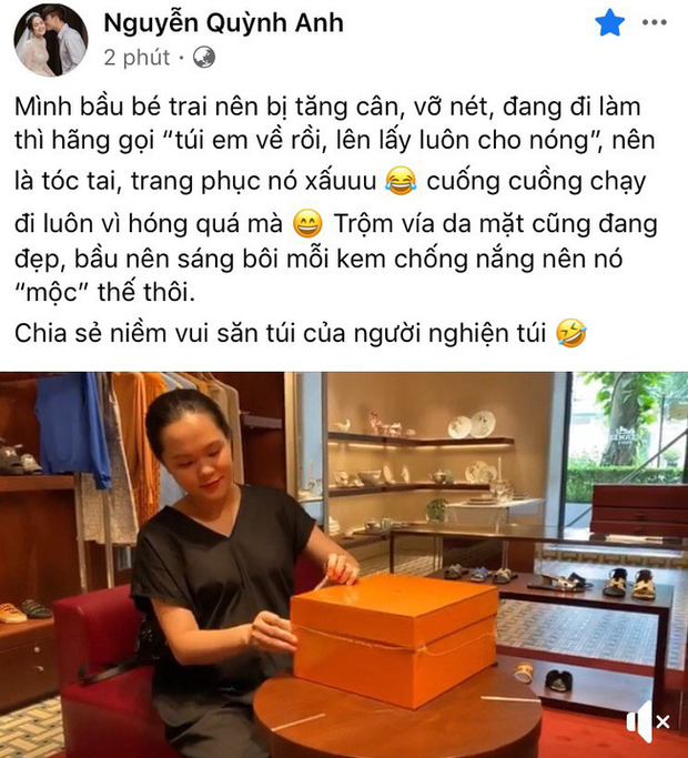 Quỳnh Anh (vợ Duy Mạnh) khoe mặt mộc khi đập hộp túi hàng hiệu trăm triệu, chị gái gây chú ý với câu hỏi: Yên tâm đi đẻ chưa - Ảnh 1.
