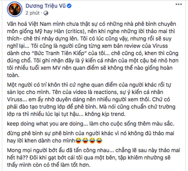 Giữa lùm xùm chỉ trích ViruSs, Dương Triệu Vũ lên tiếng bảo vệ: Đừng phê bình sự phê bình của người khác - Ảnh 1.