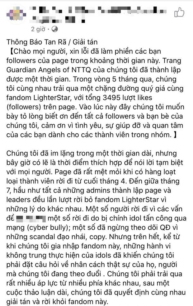 Fanpage tự nhận là fan của Nguyễn Trần Trung Quân - Denis Đặng bất ngờ bóc phốt kèm tuyên bố tan rã, người trong cuộc nói gì? - Ảnh 1.