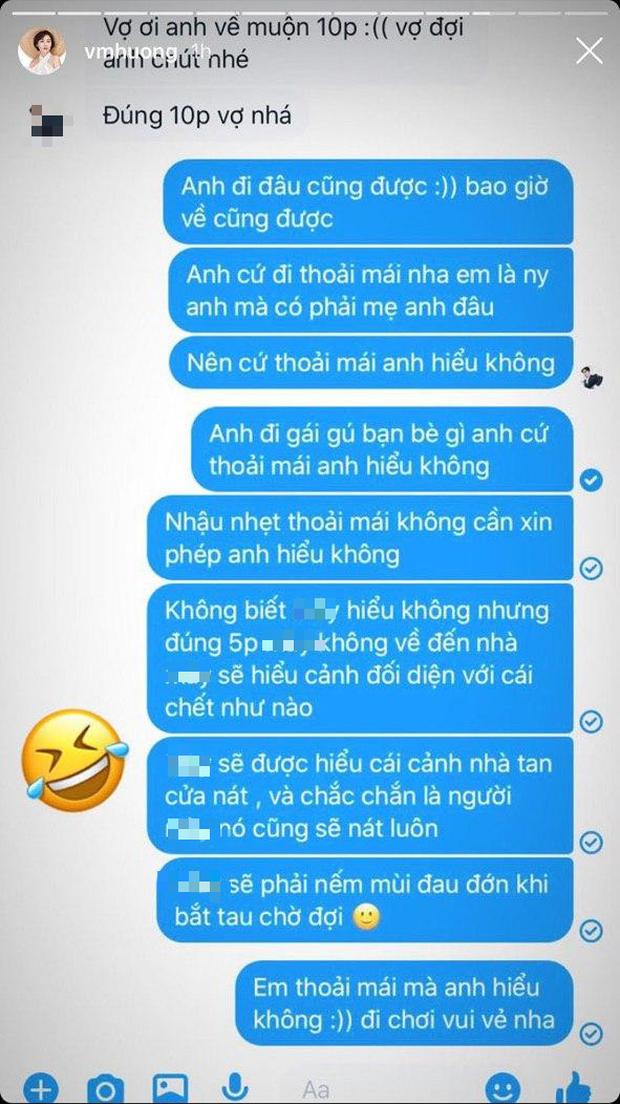 Văn Mai Hương công khai đoạn chat với bạn trai tin đồn: Thoải mái cho chàng đi gái gú bạn bè, nhưng sao như dằn mặt thế này? - Ảnh 2.
