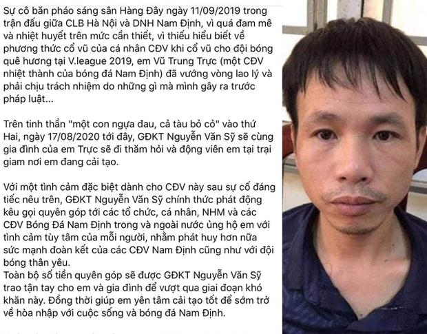 CLB Nam Định gây sốc khi kêu gọi quyên góp cho kẻ bắn pháo gây thương tích bị phạt tù, CĐV cạn lời: Không đá bóng nên diễn hài à - Ảnh 1.