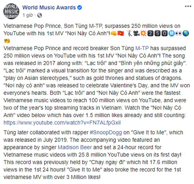 World Music Awards khẳng định Sơn Tùng M-TP là Hoàng tử nhạc Pop, Người phá kỉ lục và khen ngợi MV Nơi Này Có Anh - Ảnh 3.