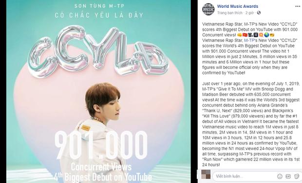 World Music Awards khẳng định Sơn Tùng M-TP là Hoàng tử nhạc Pop, Người phá kỉ lục và khen ngợi MV Nơi Này Có Anh - Ảnh 1.